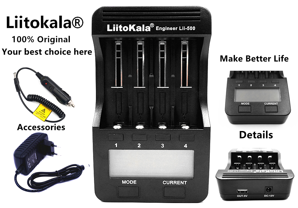 Liitokala Lii500 LCD Display 18650 Battery Charger Lii 500 For 18650 26650 16340 A AA AAA