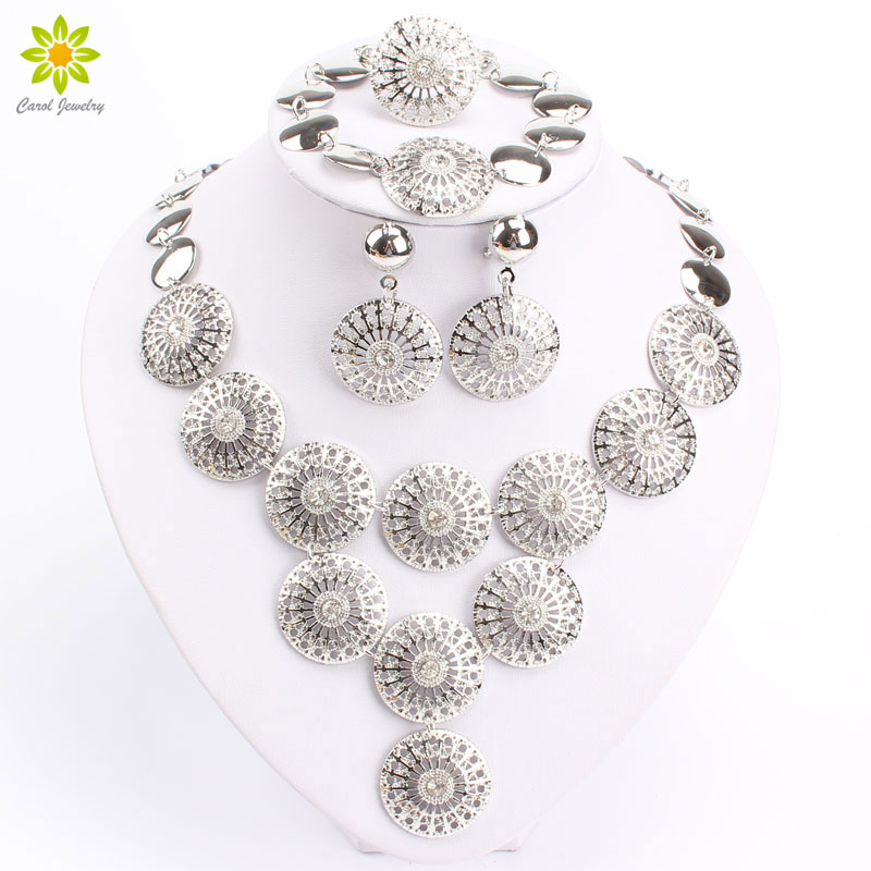 Silver Clear Indian Costume Jewellery Necklace Earrings: Round Design Clear Crystal Rhinestone Gold/Silver Plated