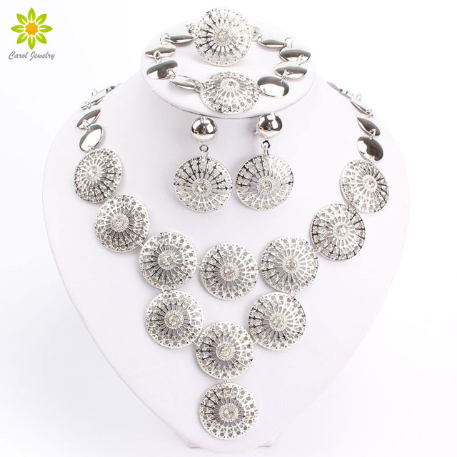 Round Design Clear Crystal Rhinestone GoldSilver Plated Indian