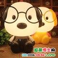 Super adorável cão do bebê crianças quarto lâmpada de cabeceira, luz da noite dos desenhos animados criativo lâmpada linha kkg