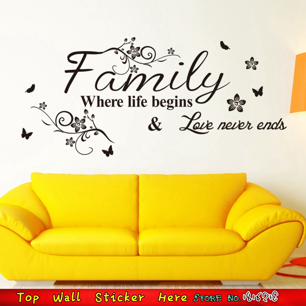 Family Life Quotes Family Life Begins Love Never Ends Wall Quotes Stickers Removable