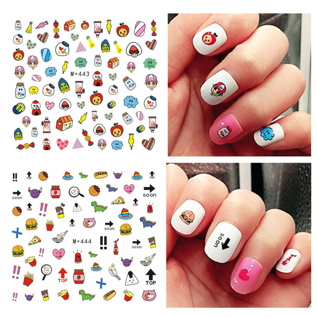 3pcs Diy Cartoon Kids Nails Art Stickers Water Transfer Sticker