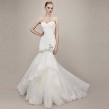 Mrs win Romantic Lace Mermaid Wedding Dresses Sleeveless