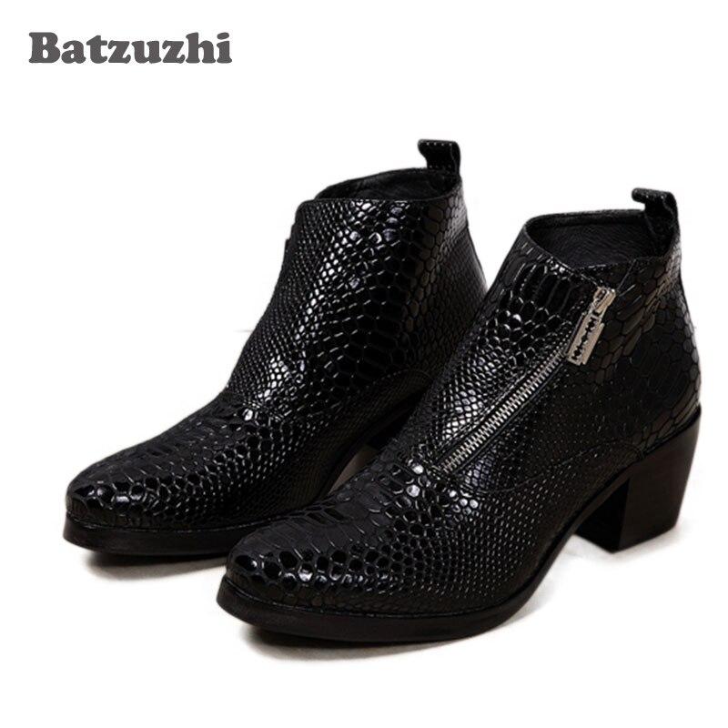 ntparker 6.8CM Heels Black Men Boots Genuine Leather Fashion British Style Mens Oxfords Round Toe Square High