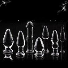7 ב 1 זכוכית אנאלי דילדו סט אנאלי חרוזים צעצוע מין לנשים למבוגרים מוצרי קריסטל זכוכית דלעת בצורת אנאלי plug אט ממריץ