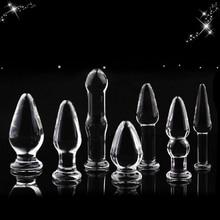 7 en 1 verre Anal gode ensemble perles anales jouet sexuel pour femmes produits pour adultes cristal verre calebasse en forme de stimulateur Anal godemichet Anal