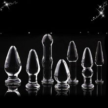 7 in 1 Glass Anal Dildo Set Anal Beads Sex Toy for Women Adult Products Crystal Glass Calabash Shaped Anal Stimulator Butt Plug