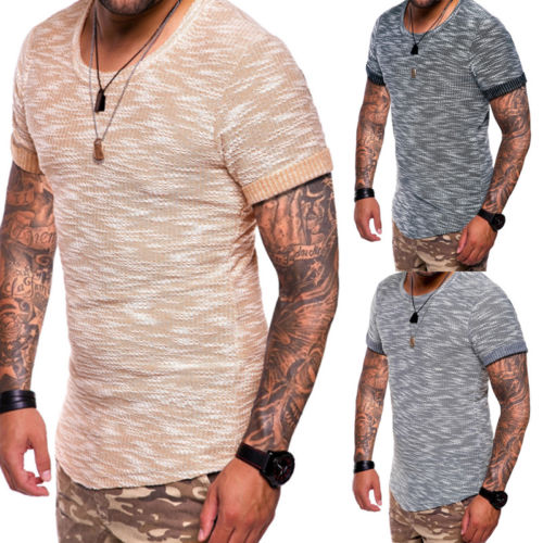 Men/'s muscle tee o neck summer blouse t shirt slim fit short sleeve casual tops