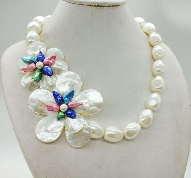 Takı ve Aksesuarları'ten Gerdanlık Kolyeler'de Inanılmaz!!! Klasik Beyaz Deniz Kabukları Barok Boncuk, El Örgü Çiçek Kolye'da  Grup 2