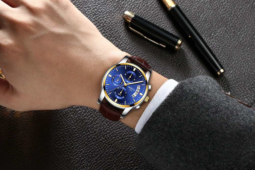 Montre à Quartz hommes d'affaires grand cadran