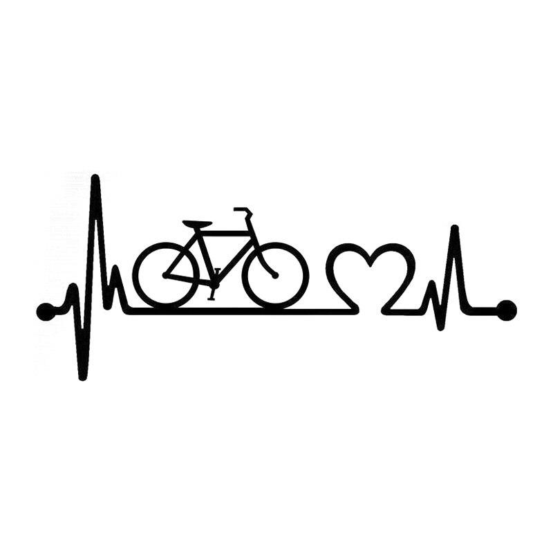 18.5cm*8.1cm Bicycle Heartbeat Lifeline Cycling Fashion Vinyl Stickers Decals Black/Silver S3-4957 car