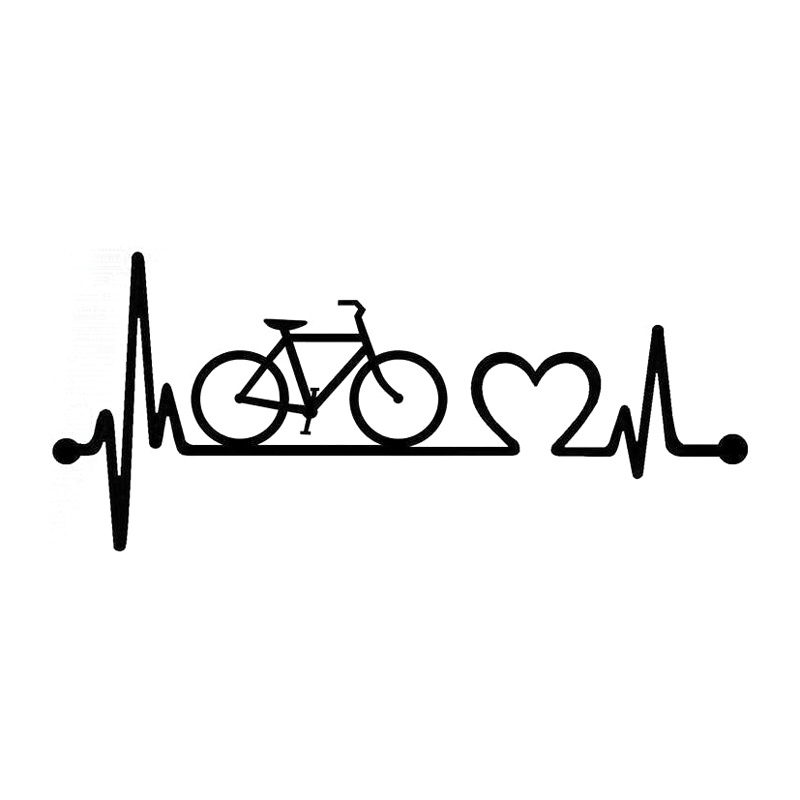 18.5cm*8.1cm Bicycle Heartbeat Lifeline Cycling Fashion Vinyl Stickers Decals Black/Silver S3-4957