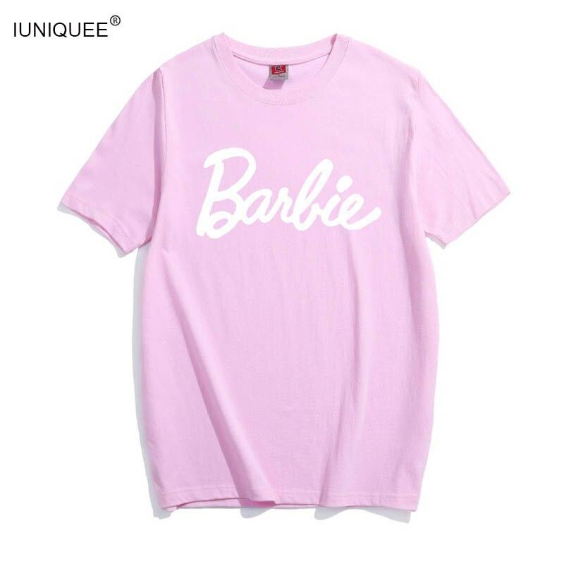 Barbie Lettera del Cotone Della Stampa T-Shirt Donne Sexy Tumblr Graphic tee rosa grigio t shirt Casual t Camicette Bae Magliette e camicette Abiti tees Camicette