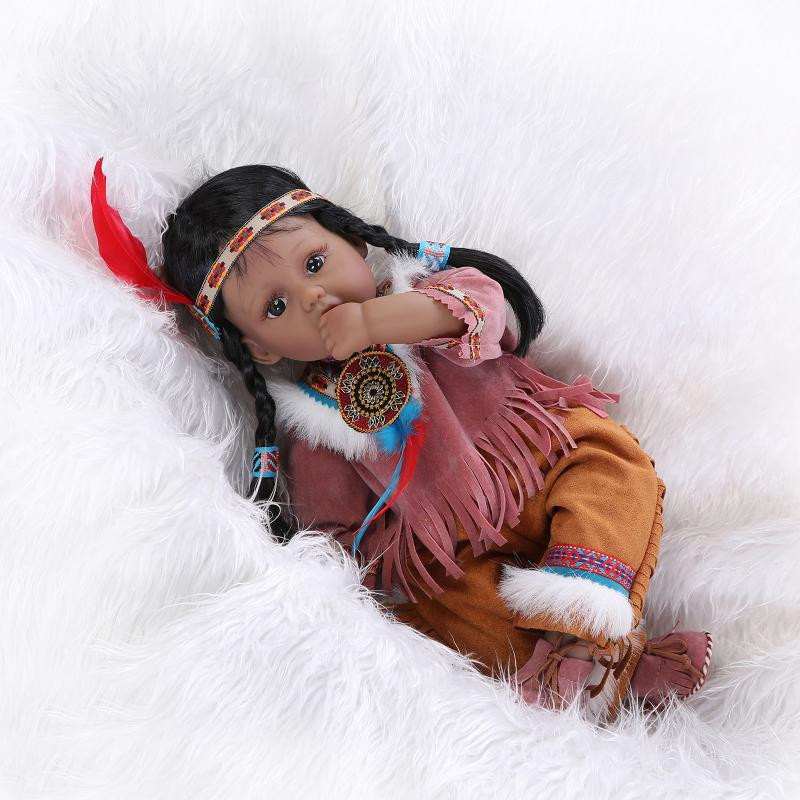 50cm/20 Lifelike Reborn Native American Indian Dolls Silicone Vinyl Handmade Baby Toy Gift Collection баффи санти мари buffy sainte marie native north american child an odyssey