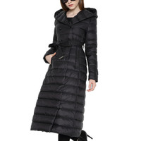 MOSHU Women Jacket Coat Winter Women Down Coat Jacket Long Elegant Coat Double Breasted 90% White Duck Down