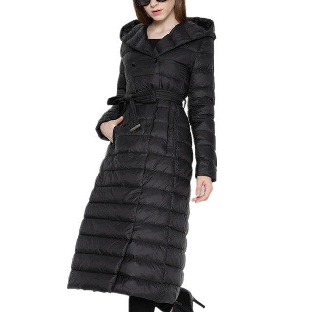 new style 596b3 f8005 US $91.98 |MOSHU Frauen Jacke Mantel Winter Frauen Daunenmantel Jacke Lange  Elegante Mantel Zweireiher 90% Weiße Ente Unten in MOSHU Frauen Jacke ...
