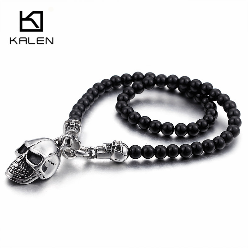 Kalen Afrikanische Glas Perlen 47 cm Lange Kette Halsketten Für Männer Punk Edelstahl Schädel Kopf Anhänger Erklärung Halsketten Schmuck