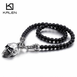 Kalen African Glass Beads 47cm Long Chain Necklaces For Men Punk Stainless Steel Skull Head Pendant Statement Necklaces Jewelry