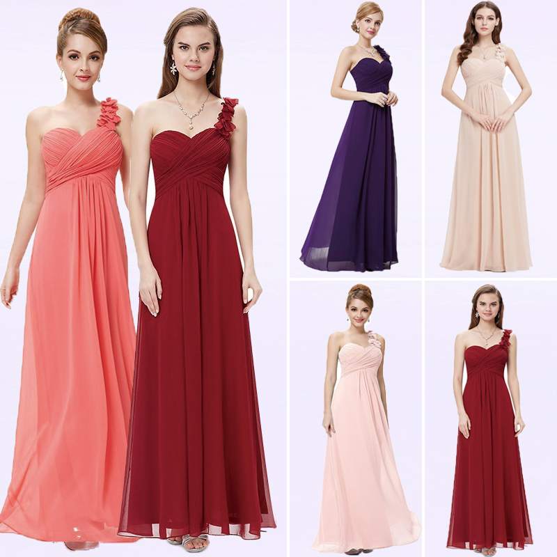 Plus Size A-line Chiffon   Prom     Dresses   2018 Simple One-Shoulder Sleeveless Empire Waist Flower Cheap Gala Jurken Long Party Gowns
