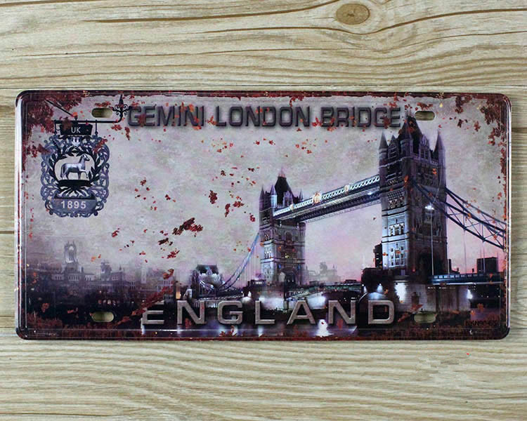 SP-CP-312 Car number About  England london bridge License Plates plate Vintage Metal tin sign Wall art craft painting 15x30cm