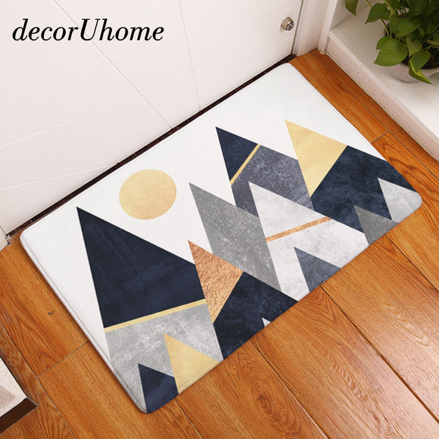 decorUhome Nordic Anti-Slip Door Mat Waterproof Mountain Painting Carpets Bedroom Rugs Decorative Stair Mats & decorUhome Nordic Anti Slip Door Mat Waterproof Mountain Painting ...