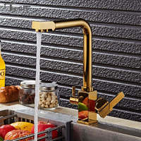 Golden Brass Swivel Hot And Cold Water Faucet 3 Way Water Filter Purifier Kitchen Faucets Chrome