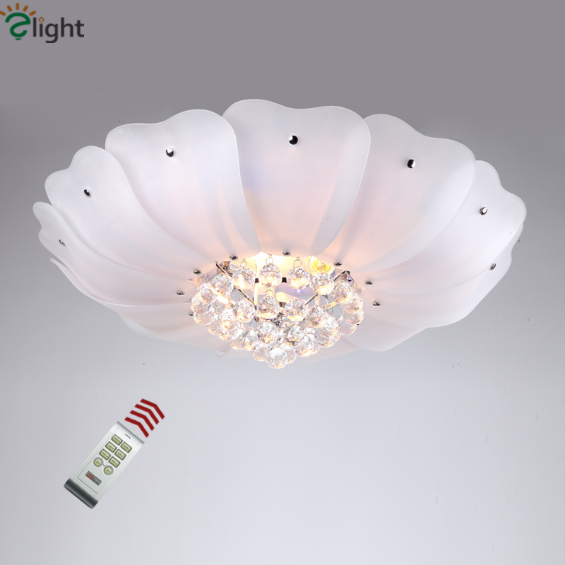 2016 Modern Brief Glass Lotus Lustre De Cristal Dimmable Led Ceiling Lamp Living Room Led Ceiling Lamp