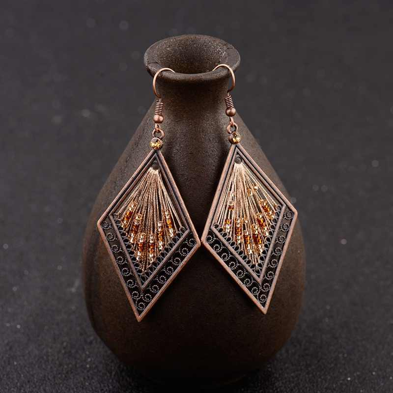 Women's Ethnic Silk Rhombus Alloy Beads Drop Earrings Fashion Jewelry Vintage Gypsy Boho Earrings Oorbellen Jhumka