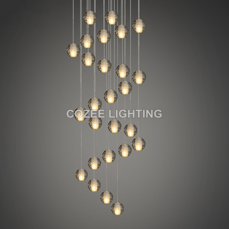 ФОТО Modern Crystal Chandelier LED Hanging Lighting Glass Globe Orb Glass Chandeliers Luxury Stair Bubble Cristal Chandelier Lamp