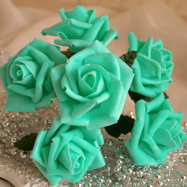 Pool Blue Artificial Flowers Turquoise Roses For Wedding Decor     Pool Blue Artificial Flowers Turquoise Roses For Wedding Decor Flowers  Floral Wedding Centerpieces 72 Flower Heads