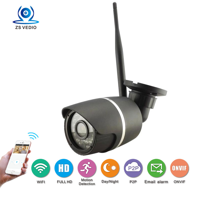 HD 1080p Wifi Camera Bullet Ip Camera Wireless Cctv Onvif P2p Waterproof Night Vision Security Camera