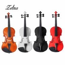 Zebra 1/2 Natural Acoustic Wooden Fiddle Violin Set with Violin Case Bow  for Stringed Instruments Beginner Lovers