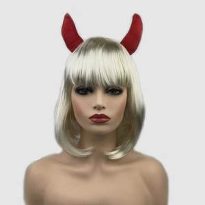 StrongBeauty Halloween WIigs Costume  Blonde Wig with Horns Wig Party Synthetic Hair