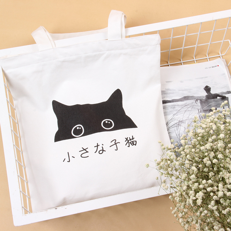 2016 Cotton Canvas font b Women b font Handbag Fashion Female Lovely Cat Ladies font b
