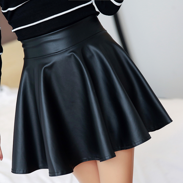 2014 2015 autumn winter faux leather skirt a-line bust high waist short PU pleated puff skirts - Fashion girl' store