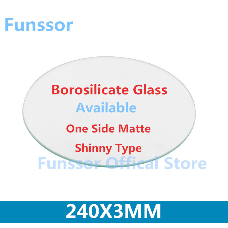 Funssor 240mm round borosilicate glass plate 3mm Thickness glass Heated Bed For DIY Delta 3D Printer mini 3d printer borosilicate glass plate 170mm 3mm thick boro glass top for rostock delta kossel
