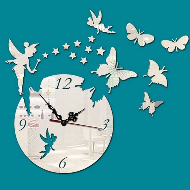 Digital Fairy Mirror Wall Clock Large Wall Clock Modern Design Watch Mural Watch Wall Vinyl Clock Jingle Girl Creative Home D
