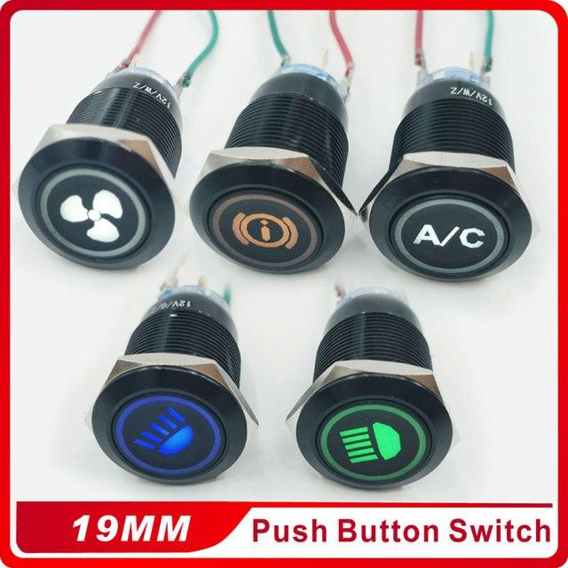 NIEUWE 3 v 5 v 12 v 24 v 220 v 19mm zelfsluitende Aluminiumoxide zwarte drukknop met LED licht drukknop waterdichte drukknop switch