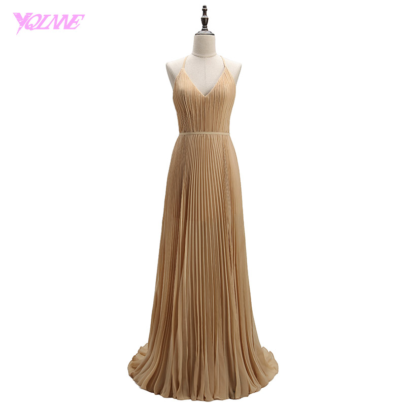 YQLNNE 2018 Selena Gomez   Prom     Dresses   Champagne Long Crepe Pleats Red Carpet   Dress   Vestido De Festa