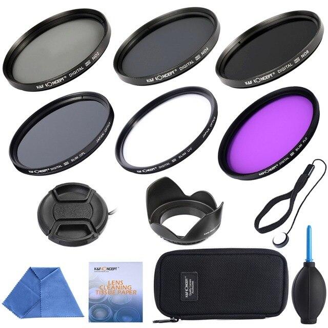 62mm Filter Set UV CPL FLD+ ND2 ND4 ND8+Cleaning Kits+ Filter Pouch Bag Lens Filter Kit for Nikon D7100 D7200 D3100 DSLR Camera
