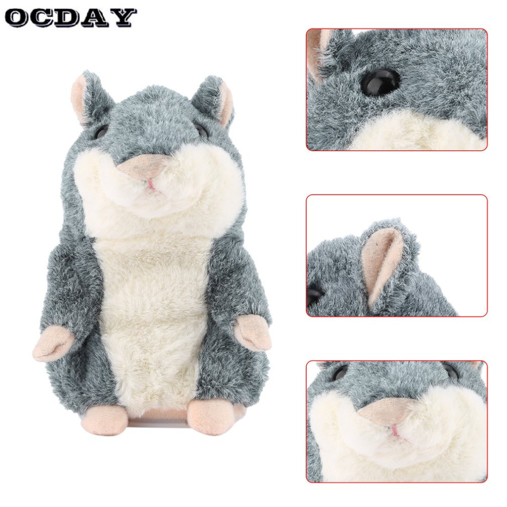 OCDAY Plush Toy Talking Hamster Mouse Pet Gray Interactive Cute Sound Record Hamster Educational Toy for Kids Gift Stuffed Toys