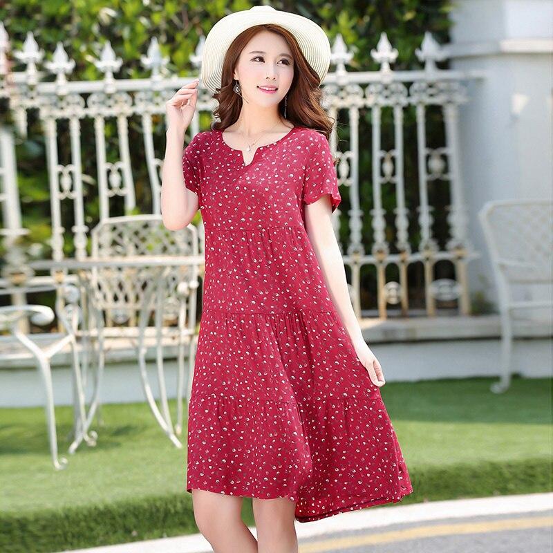New Summer Dot Dress Slim Loose V Neck Casual Women Clothing Cotton Patchwork Dresses