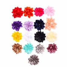 200pcs/lot 15 Colors DIY Satin Chiffon Flower Girls Hairclips Satin Ribbon Multilayers Flower For Baby Headband Hair Accessories