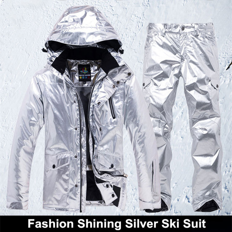 Shining Silver Mens Womens Ski Suit Winter Thermal Waterproof Windproof Snowboarding Jacket Pants Skiing Wear Female Snow SuitsShining Silver Mens Womens Ski Suit Winter Thermal Waterproof Windproof Snowboarding Jacket Pants Skiing Wear Female Snow Suits