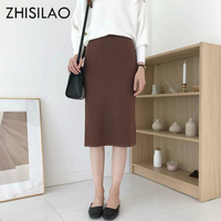 ZHISILAO Solid Knitted Long Skirts Winter 2018 Women Casual Sweater Skirt Ladies Pencil Bodycon Skirt Skinny Sweater Skirts