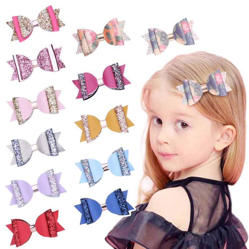df649c08a987a New Girls Glitter Sequin Bows Hairpins Leather Big Bow Hair Clips Tie Cute  Candy Colors Hair Accessories Kids Barrettes Headwear