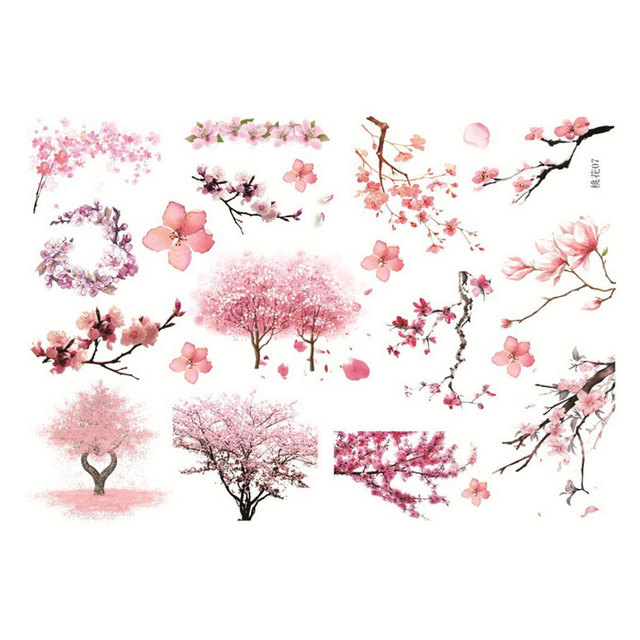 2x kawaii pink peach blossom album decorations stickers self adhesive diy manual stickers school office