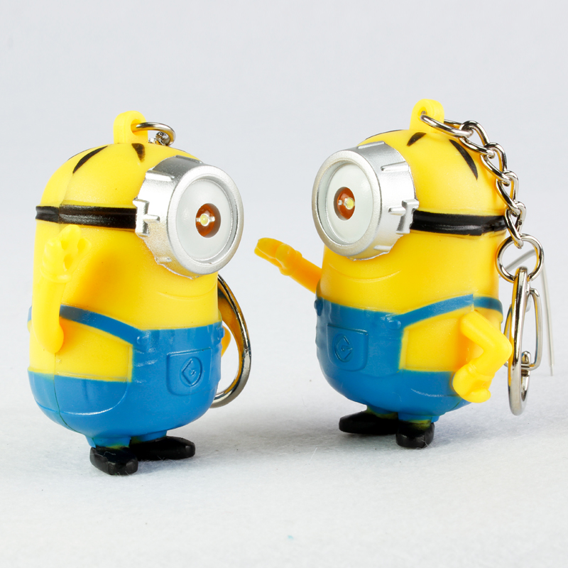 popular new arrive despicable me 3 minion keychainled keychaincute flashlight keyringtalk minions christmas gift 3 30pcslot in key chains from jewelry