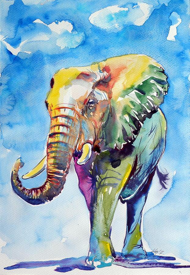 Modern oil paintings Animal pop art Colorful Elephant Hand ...