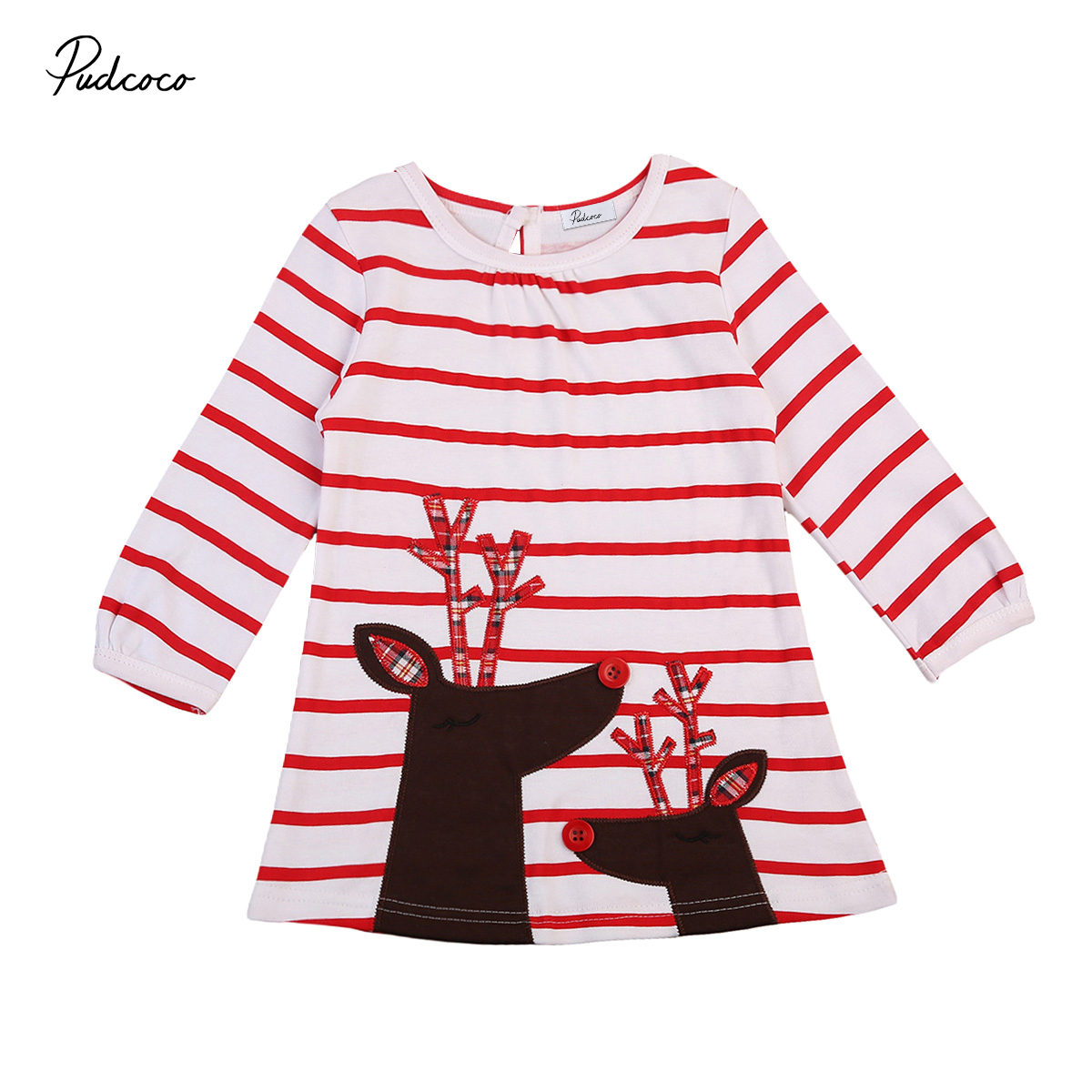 New Year Girls Clothes Christmas Girls Red Striped Cute deer dress Xmas dress Princess Dress Baby Cotton Dress children clothing curved hem striped tee dress